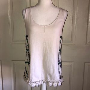 Madewell Cream Embroidered Fringe Tank Top